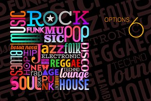6 Music Styles vector text designs