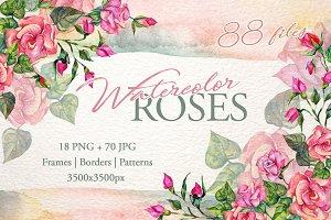 Wonderful pink roses PNG watercolor