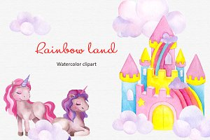 Rainbow Land.Watercolor clipart