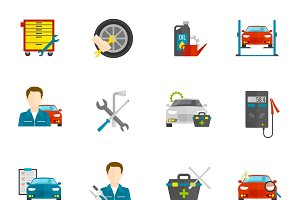 Auto mechanic and car repair icons