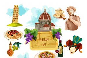 Italy touristic cartoon icons set