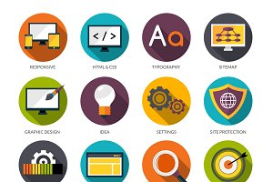 Web design flat icons set