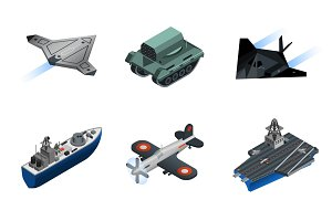 Military equipment isometric icons