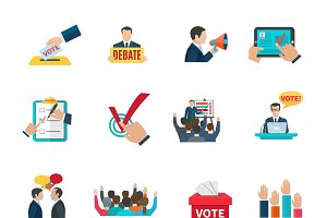 Elections icons set flat