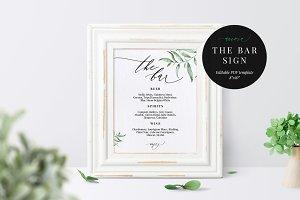 Wedding Bar Menu Sign, Aurora