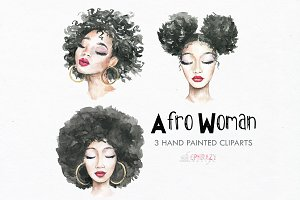 Afro woman clipart. Watercolor