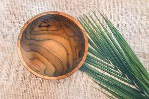 Wooden tableware. Pure teak wood