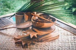 Wooden tableware. Pure teak wood
