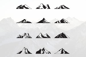 Mountain Peak Silhouette Set