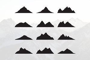 Mountain Peak Simple Silhouette Set