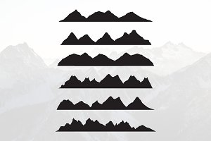 Mountains Silhouette Landscape Set