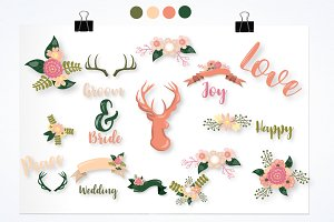 wedding flowers graphic illustration