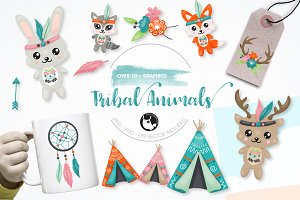 Tribal animals graphic illustration