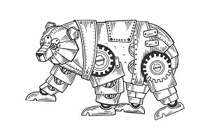 Mechanical bear animal engraving