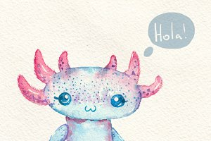 Axolotl cute and funny. Watercolor