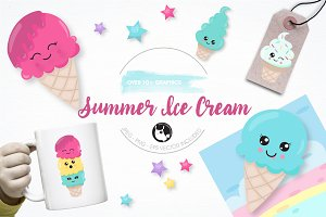 Summer Icecream graphic illustration