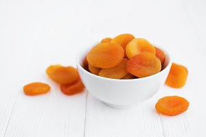 Dried apricots on a table