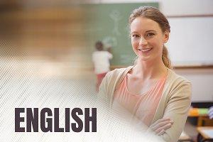 English text and School teacher