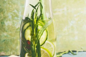 Infused water with green ingredients