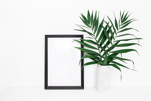 Tropical palm leaves, photo frame