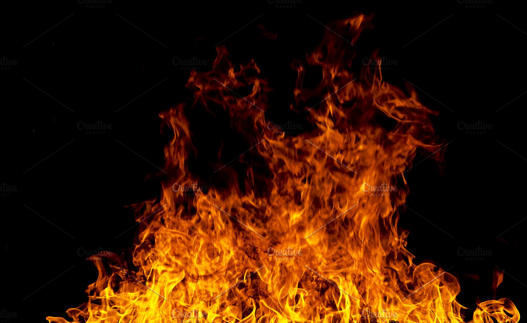Fire flames on a black background | High-Quality Stock ...