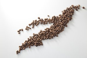 roasted coffee beans poured from cle