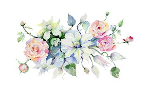 Celebration bouquet flowers PNG set