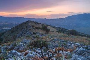 Sunset in to the mountain in Croatia