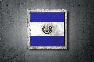 Republic of El Salvador flag in conc