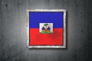 Haiti flag in concrete wall