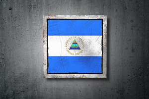 Nicaragua flag in concrete wall