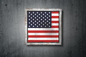 USA flag in concrete wall