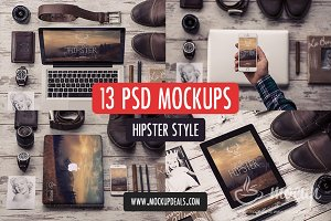 13 PSD Mockups Hipster Style