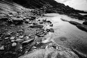 Landscape of rocks and sea