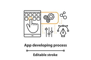 App development process concept icon