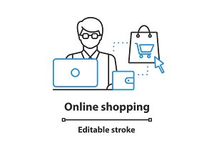 Online shopping concept icon