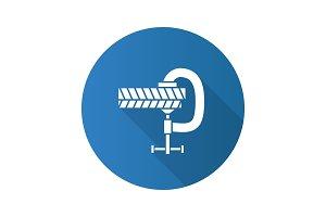 Screw clamp holding planks icon
