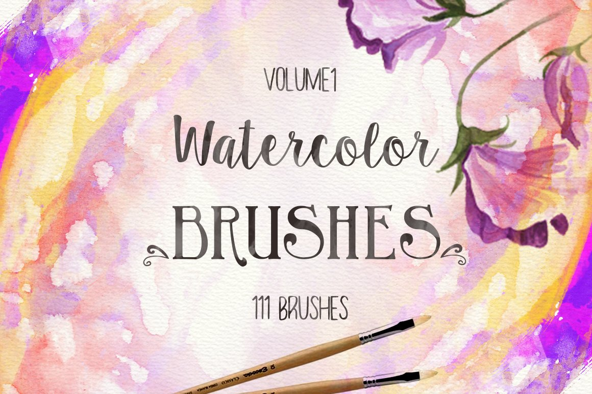 Watercolor Flowers And Paint Brushes: 111 Watercolor Brushes