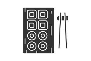 Sushi and chopsticks glyph icon