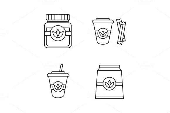 Tea drinks linear icons set