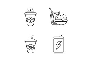 Drinks linear icons set