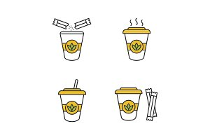Tea drinks color icons set