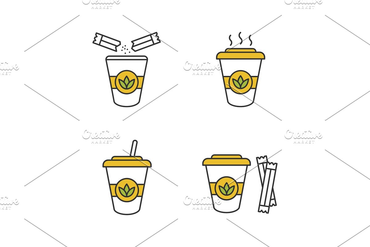 Tea drinks color icons set in Icons