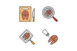 Fish preparation color icons set