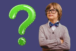Kid Boy with green shiny question