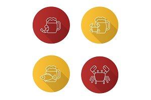 Beer seafood snacks icons set
