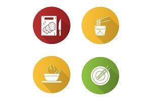 Chinese food icons set