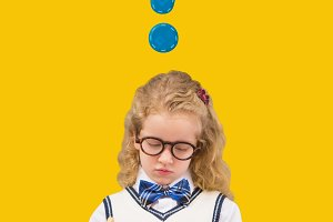 Kid Girl with blue question mark