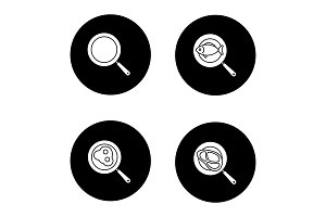 Frying pans glyph icons set