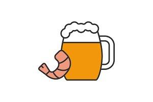 Beer mug with shrimp color icon